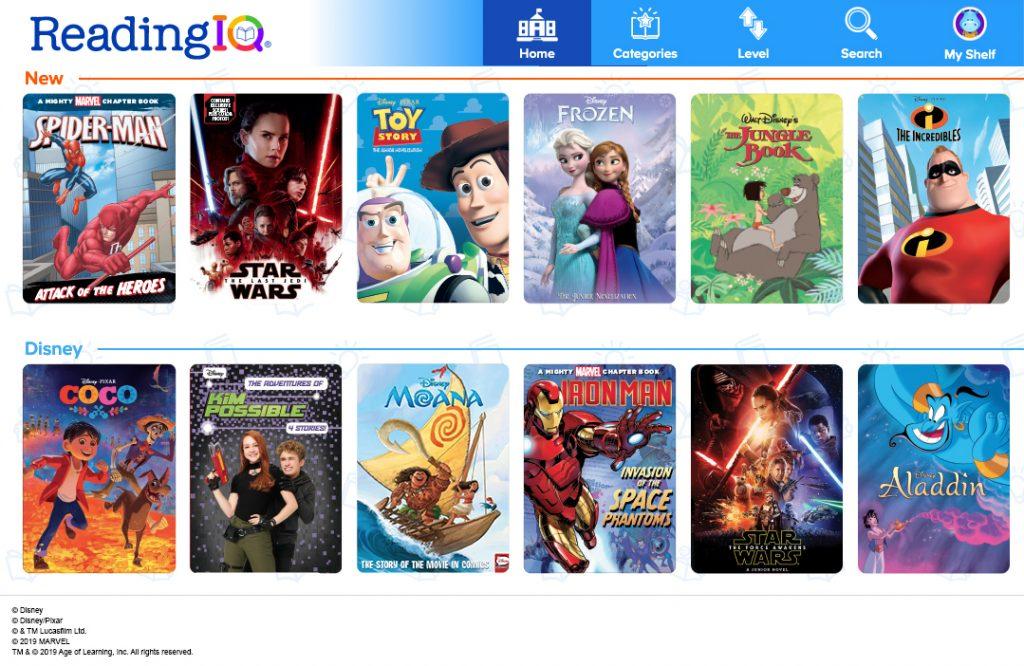 ReadingIQ Includes Disney, Pixar, Marvel, and Star Wars Books